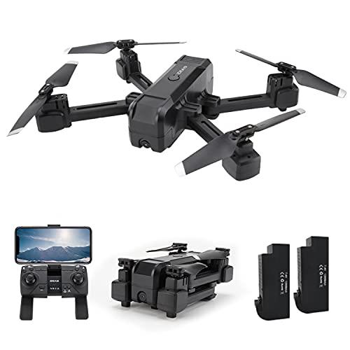 IDEA19 Drone con Telecamera Professionale 2K HD, Pieghevole Drone GPS Trasmissione WiFi 5GHz, RC Quadricottero con Fotocamera 120 FOV, Modalit Senza Testa, Droni per Principianti (2 Batterie)