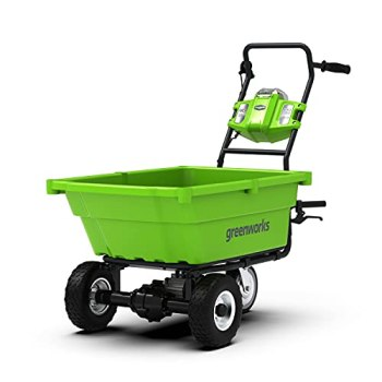 Greenworks Brouette à Batterie G40GC (Li-Ion 40V 4,2 Km/H Vitesse de Conduite 2,4 Km/H Vitesse en Marche Arrière 100Kg Charge Max, sans Batterie et Chargeur)
