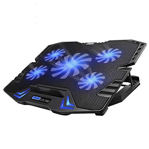 TopMate C5 10-15,6 Pouces Pad de Refroidissement pour Ordinateur Portable de Jeu, 5 Ventilateurs Silencieux et écran LCD, réglage de 5 hauteurs, 2 Ports USB et lumière LED Bleue