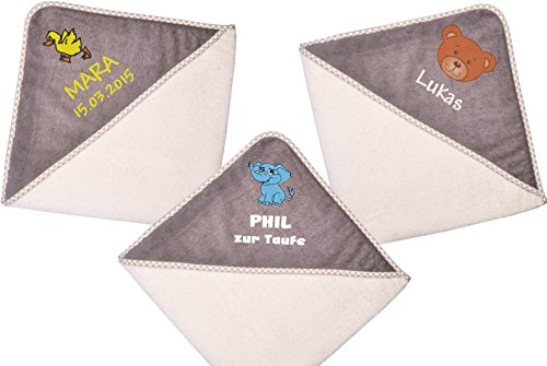 Wolimbo Kapuzenbadetuch mit Ihrem Wunsch-Namen und Wunsch-Motiv - Format: 100x100cm - Farbe: beige braun