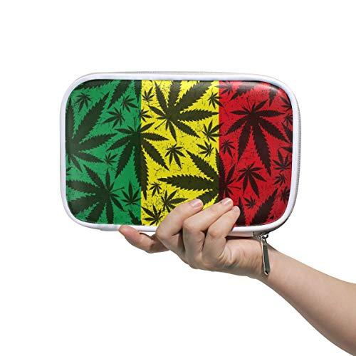 Linomo Marihuana - Estuche multifuncional para lápices y cosméticos, diseño de hojas de cáñamo, con cremallera, piel, tamaño pequeño, para niñas, adolescentes, niños