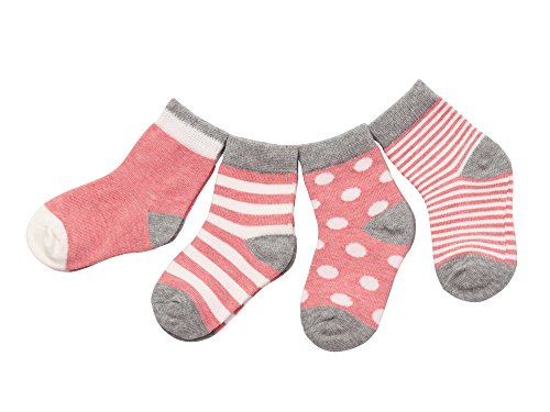DEBAIJIA 4 Paia di Calze Cotone Calzini Corti da Bambina Bambino Moda Conforto Rosa 0-6 Mesi