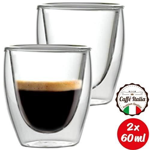Caffé Italia Torino Tazzine Caffe Vetro Doppia Parete 2 x 60 ml - Tazzine per Espresso Bevande Calde e Fredde - Lavabile in Lavastoviglie