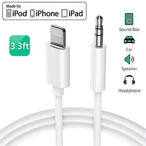 Cavo Aux per iPhone Cavo audio auto Jack da 3,5mm per iPhone per riprodurre musica Cavo Aux in auto per iPhone 7Plus/8/X/XS/XR/11 Autoradio/altoparlanti/cuffia Supporto Tutti iOS Sistema(bianca)
