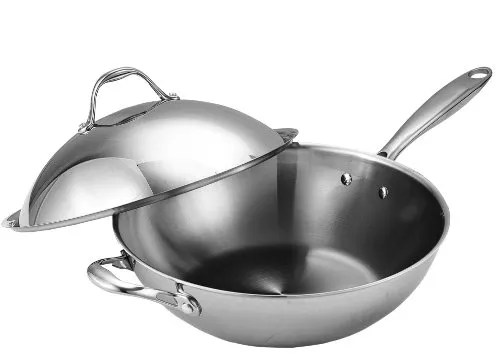Cooks Standard NC-00233 Stainless Steel Stir Fry Pan with Dome Lid 13-Inch Multi-Ply Clad Wok, Silver