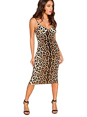 95% Polyester ,5% Spandex Sleeveless, spaghetti strappy, basic cami dresses, v neckline, elegant evening dresses, leopard printed This sundresses is great for casual, home, sandy beach, tour banquet, and party. The style is slim. This Bodycon dresses...