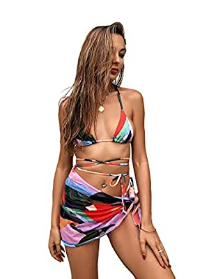 3pcs bikini swimsuit with beach skirt Fabric: Fabric is very stretch, soft and comfortable Feature: Halter, triangle top, colorblock, tie side, thong, cover up beach skirt, chest pad can be removed, fashionable Size recommendation: Please refer to si...