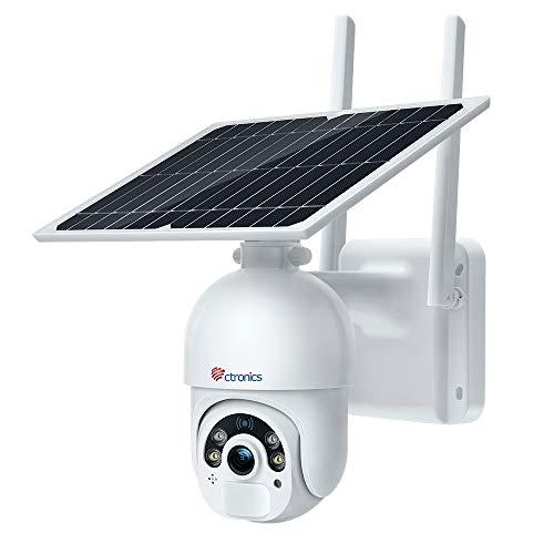 Ctronics 3G/4G Pan Tilt Telecamera di Sicurezza Solare Wireless Per Esterni Con Batterie 2MP Ricaricabili 14400mAh di Sorveglianza Home Security Con Visione Notturna a Colori PIR Radar Dual Detection