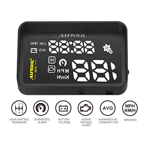 AUTOOL OBD2 Car Windshield HUD Head Up Display with Speed Fatigue Warning RPM MPH Fuel Consumption for OBD II EOBD System Model Vehicle