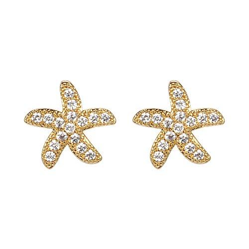 ShineDew Pendientes de Chapado en Oro de 18 Quilates aretes de Estrella de mar