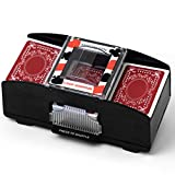 Sharper Image Electronic Card Shuffler with 2 Decks of Playing Cards, Shuffles Quick, Play Like a Pro, Battery Operated for Portability and Travel, Perfect for Poker and Blackjack, Push-Button Simple