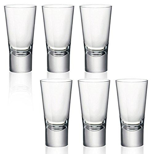 Bormioli Rocco Manopole a doppio spessore di 70 ml Bicchiere Shot Vodka Glasses-Bicchieri, Vetro, Set da 6