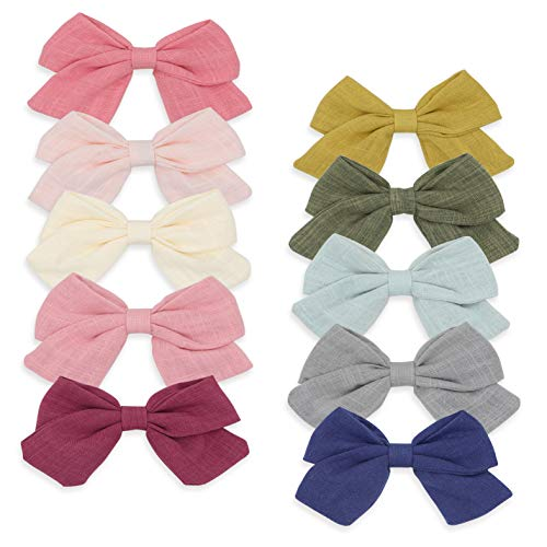 Baby Girl Hair Clips,Linen Bows Barrettes Cotton Alligator Clip Hair Accessories for Little Girls Toddler Gifts by FANCY CLOUDS
