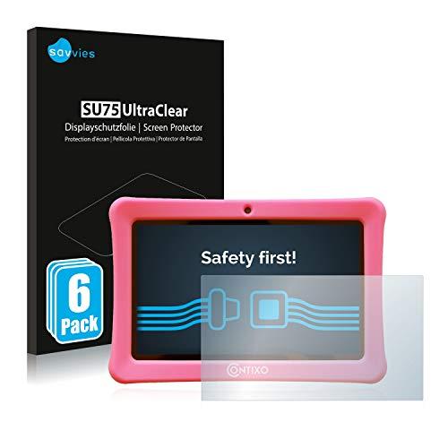 savvies 6-Pezzi Pellicola Protettiva Compatibile con Contixo Kids 7' Tablet Protezione Schermo Trasparente