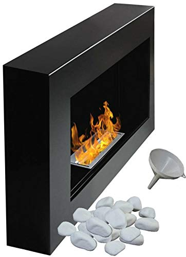 Bio Ethanol Fire BioFire Fireplace Modern 650 x 400 Black FLAT BACK ANY WALL MOUNTED (Without Glass Panel)