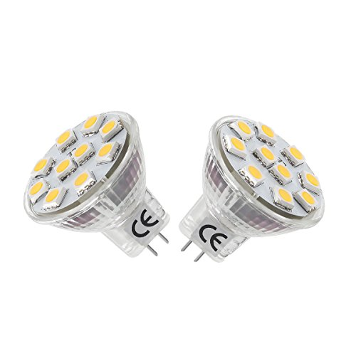 LE 2W、MR11、GU4口金、LED電球、スポットライト、12V低電圧、20Wハロゲン電球相当、電球色(3000K)、ビーム角度120°、2個セット
