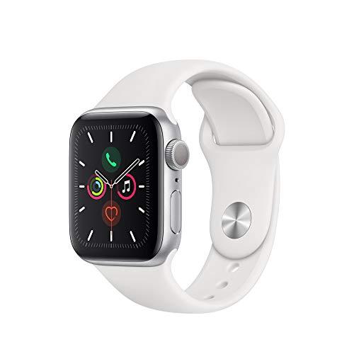 Apple Watch Series 5 (GPS, 40 mm) Aluminio en Plata - Correa Deportiva Blanco