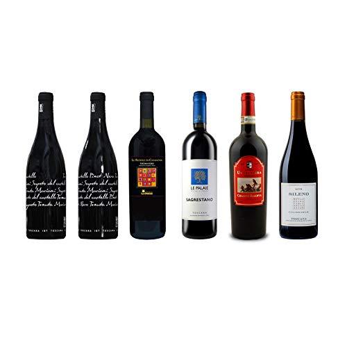 Box Degustazione Vini Rossi Toscana - Sangiovese Chianti Riserva Pinot Nero Merlot Ciliegiolo - 6 Bottiglie 0,75 L - Idea Regalo