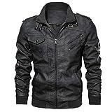 MMHA Denzell Outwear Anarchist Leather Jacket Hooded Motorcycle Coat Biker Style Men (XXXL, Black)