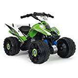 INJUSA - Kawasaki Quad ATV 12V concesso in licenza con retromarcia e freno elettrico consigliato per bambini +2 anni