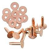 Artibetter 20 Juegos de Remaches Y Rebabas de Cobre Remaches de Cobre para Cuero para Cinturones Carteras Collares Cuero Suministros para Manualidades (Oro Rosa)