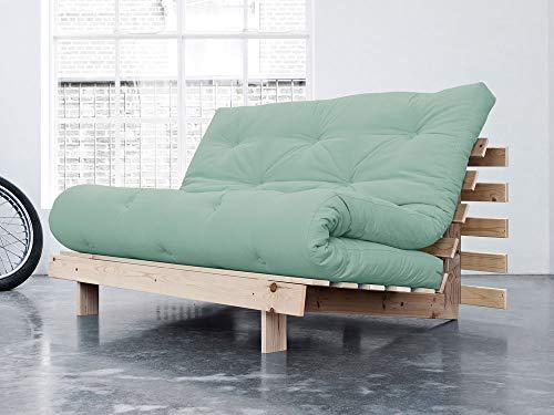 Karup - Divano a 2 posti Convertibile in Legno, con Materasso futon, 140 x 200 cm, Colore: Verde Menta