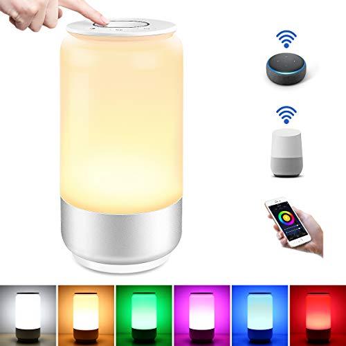 LE Lampada da Comodino Intelligente WiFi, Compatibile con Alexa e Google Home, Luce RGB e Bianco Dimmerabile (2000K - 6000K), 1000mA Lampada da Tavolo Smart Controllo da APP Smartphone