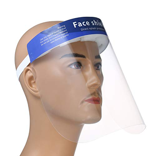 Decdeal 10Pcs/Pack Disposable Safety Face Shield Fluid Resistant Full Face Cover Transparent Single Use Visor Protection from Splash and Splatter
