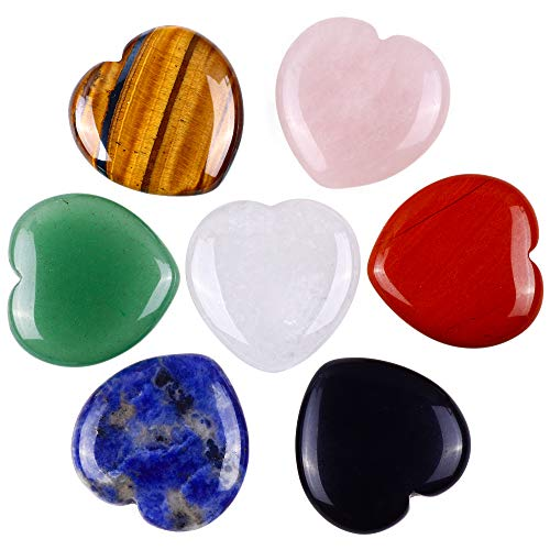 Unihom 7 Chakra Heart Shaped Stones 1' Sets Crystal Therapy...