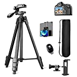 Phone Tablet Tripod, 60' Adjustable Travel Cell Smartphone Tripod Stand for Canon Nikon Sony SLR Digital Camera, Heavy Duty Aluminum with Wireless Remote iPhone iPad Holder Go-Pro Mount Carry Bag