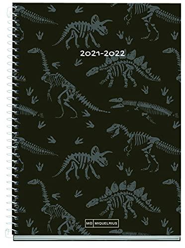 Miquelrius - Agenda Septiembre 2021 Junio 2022, Semana Vista, Tamaño 15 x 21.3 cm, Bilingüe Español e Inglés, Dinosaurios, Negro