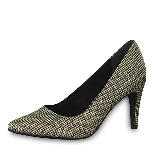 Tamaris Femme Escarpins 22433-23, Dame Escarpins Classiques, Chaussures á Talons,Chaussures de soirée,Gold Glam STR,38 EU / 5 UK