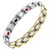 Christmas/New Year Gifts Aqonsie Pure Titanium Magnetic Therapy Bracelet Healthy Fashion Bracelet Elegant Gift for Unisex 4 Element Magnetic Bracelets Adjustable with Removal Tool(Silver & Gold)