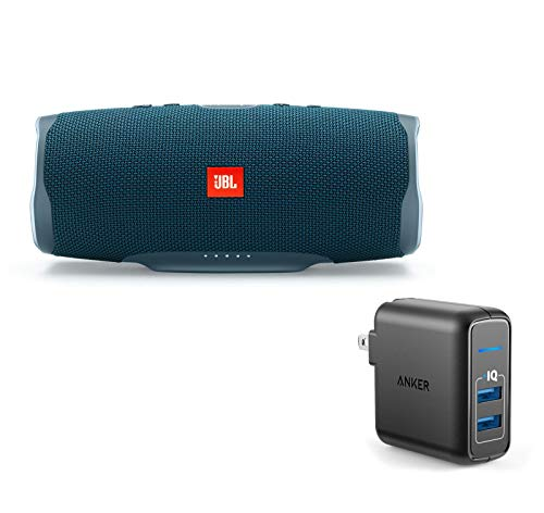 41c0zVzBPXL This bundle includes (1) JBL Charge 4 waterproof wireless Bluetooth speaker and (1) Anker 2-port wall charger. Wirelessly connect up to 2 smartphones or tablets to the speaker and take turns enjoying powerful sound. Built-in rechargeable Li-ion 7500mAh battery supports up to 20 hours of playtime and charges your device via USB port.
