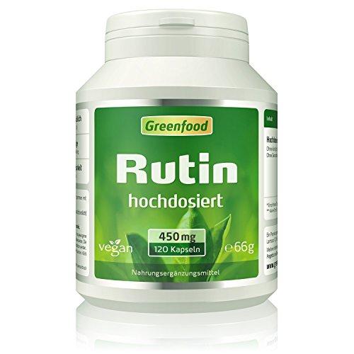 Greenfood Rutin, 450 mg, hochdosiert, 120 Vegi-Kapseln – 100% Naturprodukt. OHNE Zusätze. Ohne Gentechnik. Vegan.