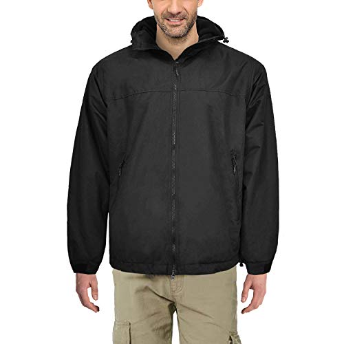Waterproof Insulated Jacket for Men Women Sailing Fishing Rain Coat Crew Midlayer Fleece Lined Breathable Windproof (Black, Medium)