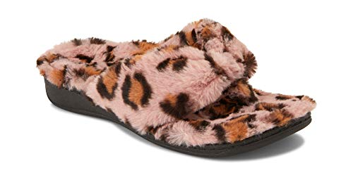 Vionic Women's Indulge Relax Plush Slipper - Adjustable Slipper with Concealed Orthotic Support Pink Leopard 6 Medium US
