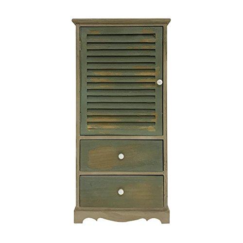 Rebecca Mobili Armadietto Vintage, Mobile Bagno 2 cassetti 1 Anta, Legno Paulownia, Verde Marrone,...