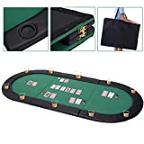 Giantex 10 Player 79'x36' Portable Tri-Fold Poker Table Top Oval Padded Folding with Carrying Case (Green/Black)