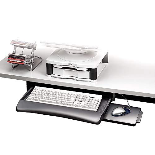 Fellowes 93804 Tastaturschublade mit Mausablage, verstellbar, Graphit