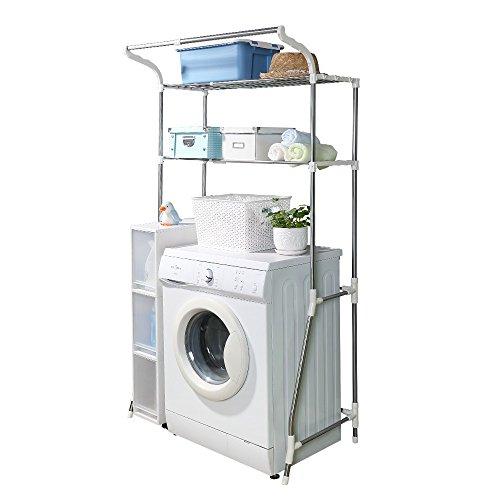 BAOYOUNI Toilettenregal Waschmaschinenregal Platzsparendes Badezimmerregal Metall Badregal Bad WC Waschküche Regal 6-Hook Breite Einstellbare Organisation Lagerregal mit 2 Ablagen (62-101cm, Weiß)