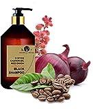 Shampooing Noir Anti Pollution Volumateur à la Caféine, Huile de Ricin et Extrait d'Oignon Rouge Efficace contre la perte de cheveux Shampoing sans sulfate 250 ml