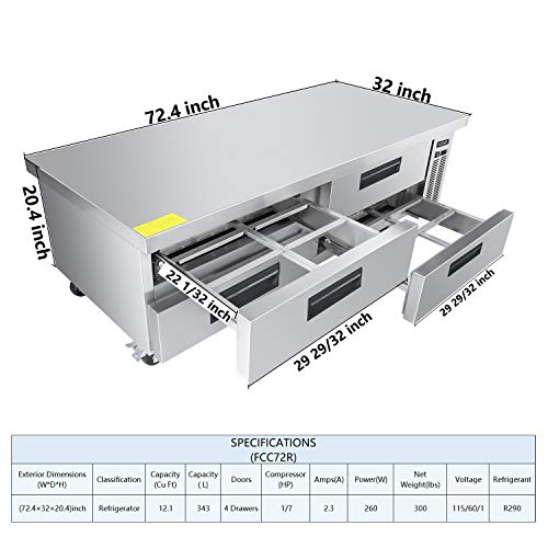 Commercial 4 Drawer Refrigerated Chef Base - KITMA 72 Inches Stainless Steel Chef Base Work Table Refrigerator, 33 °F - 38°F 3