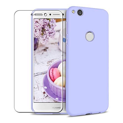 Funda Huawei P8 Lite 2017 + Protector de Pantalla de Vidrio Templado, Carcasa Ultra Fino Suave Flexible Silicona Colores del Caramelo Protectora Caso Anti-rasguños Back Case - Morado Claro