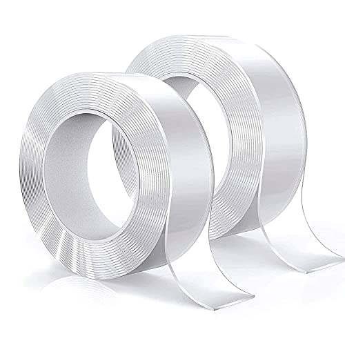 RIKMSS Double Sided Tape Heavy Duty, 2 Pack Total 13.2 Ft, Clear Washable Strong Double Sided Tape, Used for Signs, Photos, Posters, Picture Installation, Paste Kitchen and Bathroom Supplies