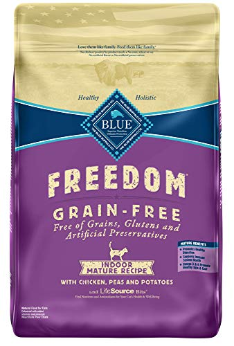 Blue Buffalo Freedom Grain Free Natural Indoor Mature Dry Cat Food, Chicken 11-lb., 800508