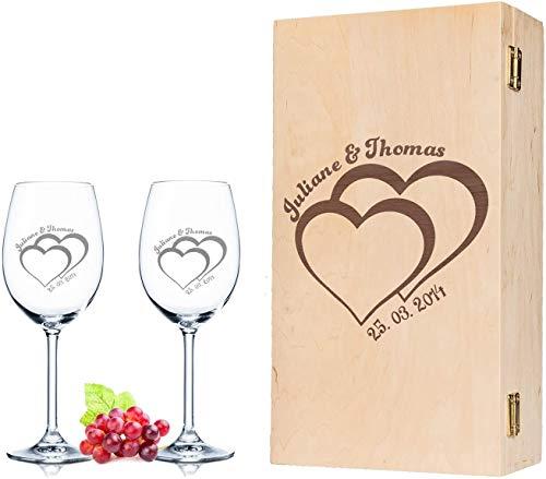 Leonardo, bicchieri da vino per il matrimonio, con incisione e nome in set da 2 pezzi, con scatola in legno vintage incisa, idea regalo per coppie