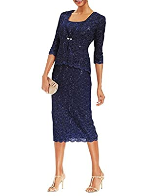 Two piece jacket dress with removable lace jacket Lined front closure sequined lace sheath Sleeveless dress with slit at the back, 3/4th sleeve jacket 54% Polyester, 42% Nylon, 4% Spandex Occasion: mother of the groom formal dresses, mother bride dre...
