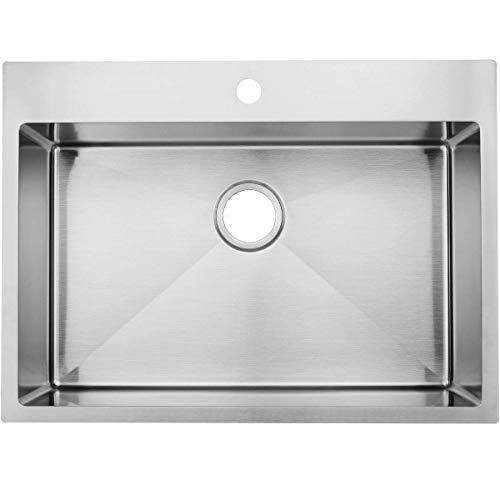 33 Inch 18 Gauge Top mount Drop-in Single Bowl Basin Handmade T304 Stainless Steel Kitchen Sink, 10 Inch Deep Brushed Nickel Kitchen Sinks