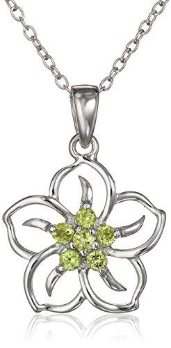 Sterling Silver Genuine Peridot Flower Pendant Necklace, 18'